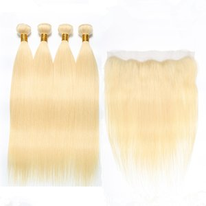 Straight Virgin Peruvian Bleach Blonde Human Hair Wefts with Frontal Pure 613 Blonde 4Bundles Hair Weaves with 13x4 Lace Frontal Closure
