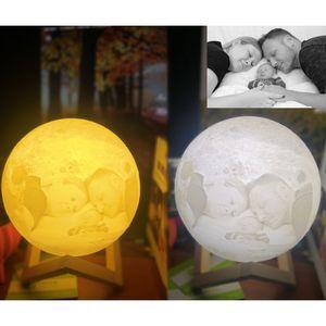 Dia caçoa o presente HH9-2644 3D LED Night Moon Light Lâmpada de mesa USB recarregável Luz 3D Stepless Para Casa Decoração de Natal Luzes dos Namorados