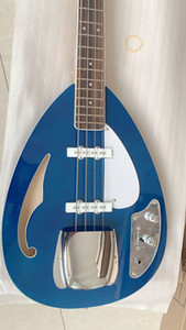 4 문자열베이스 VOX 블루 반 중공 바디 일렉트릭 기타 BASS F 구멍 본체 크롬 하드웨어