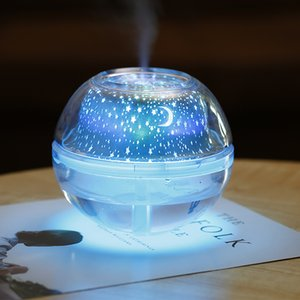 500ml umidificador de ar USB desktop Aroma Difusor Ultrasonic Noite de Cristal lâmpada do projetor Maker Mist LED Para Casa