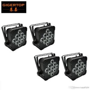 4pcs / lot 9 * 18W 6in1 RGBWAP Flat Par LED luces Soporte de batería inalámbrica 8 Horas DMX512,6 / 10Channel Wireless LED plana PAR LED