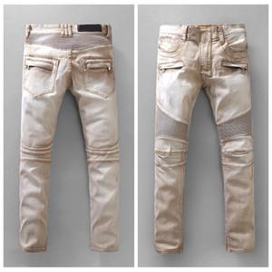 Latest Mens Distressed Ripped Biker Jeans Slim Fit Motorcycle Biker Denim For Men Fashion Hip Hop Designer Jeans Outdoor Pants #949