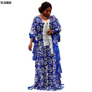 فساتين الأفريقية للمرأة بالاضافة الى حجم الملابس الأفريقية Dashiki الدانتيل والتطريز زهرة رداء بوبو الإفريقي الملابس أفريقيا اللباس