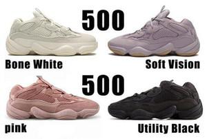Mens White Bone 500 Chaussures de course Vision Femmes souple Utility Noir Kanye West Sel super Lune Jaune Rose Designer Sport Formateurs Size36-45