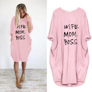Sommer-Frauen Brief gedruckt Kleider Mode Rundhalsausschnitt Panelled Damen Kleider beiläufige lose lange Hülsen-Kleid Loose Women Kleidung Plus Size