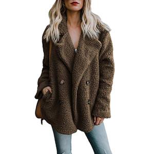여성용 옷깃 자켓 겨울용 코트 여성용 울 혼합형 가디건 온화한 점퍼 Flexce Faux Fur Plush Coat Hoodie 플러스 사이즈