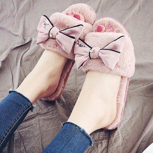 Winter Home Mulheres Fur Chinelos Butterfly-nó Fluffy Slides Rosa Quente Flats Sapatos de interior Pantuflas De Mujer MX200425