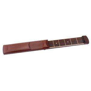 Pocket Guitar Practice Gadget 6 cordes Modèle outil chantourner pour le débutant Brown