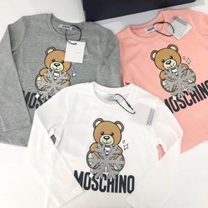 Kızlar Bebek Çocuk Giyim Bebek Kız Karikatür İçin Uzun Kollu Tişört Casual Tops Tees Çocuk Giyim Sonbahar T gömlek yazdır