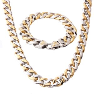 wholesale Hot Sale 15mm 316L Stainless Steel Necklace Bracelet Set for Men Silver Gold Color Curb Cuban Link Men's Chain
