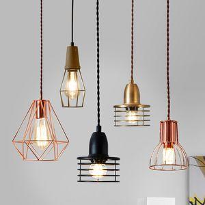 Vintage metal ouro gaiola Pendant luzes Loft industrial lâmpada de suspensão de suspensão da cozinha lâmpada luminárias pingente luminaria