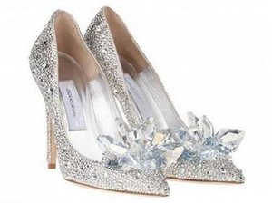 Top Grade Cinderella Crystal Shoes Bridal Rhinestone Wedding Shoes With Flower Genuine Leather Big Small Size35 To 40