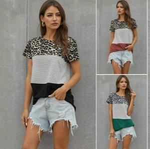 Womens Stripe Leopard curta T-shirt das meninas cor hit em torno do pescoço de manga curta Plus Size Tops Womens moda Splice T-shirt 2020 verão quente