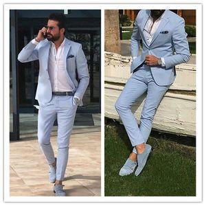 Light Sky Blue Slim Fit Mens Suits Notched Lapel Groomsmen Beach Wedding Tuxedos for Men Blazers Two Pieces Formal Suit (Jacket+Pants)1105