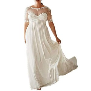 Romantic White Ivory Summer Bridal Gowns with Half Sleeve Lace Appliques Boho Wedding Dress Floor Length voiles de mariage