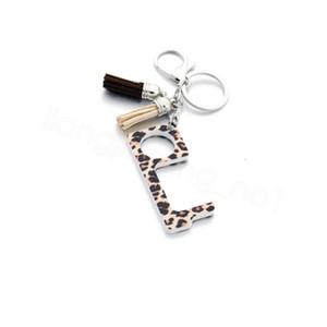 Temassız anahtarlık operner kamuflaj leopar akrilik püskül baskılı kolye EDC açıcı pres dokunmatik olmayan portatif asansör aracı FFA4115-6