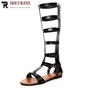 RIBETRINI Summer trendy Hot Rome Flat Shoes Women Elegant Knee High Gladiator Sandals Casual Low Heel Summer Sandals
