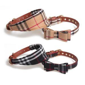 Designer Pet Accessori del cane Plaid Classic PU cane collare e guinzaglio cani sciarpa Papillon regolabile Dog Collar Guinzaglio Set per i piccoli cani