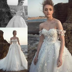 2019 Brautkleider 3D Floral Appliqued von der Schulter Robe De Mariee Arabisch Nahen Osten Kirche Plus Size Brautkleider