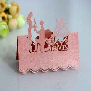 Epoux carte Siège Laser creux Cartes mariage perle papier carte siège MR / MRS Nom de mariage Inscription dans le tableau Carte