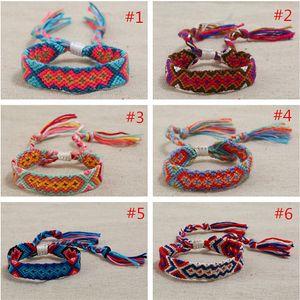 Newest Bohemia Handmade Woven Rope Rainbow Bracelets Adjustable Multicolor Cord Chain Hand Rope Women Men Friendship Bracelets Jewelry INS