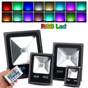 RGB LED luzes de inundação com controle remoto, AC85-265V Regulável Cor Variável holofote, 10W / 20W / 30W impermeáveis 16 cores 4 Modos de Wall Washer Luz