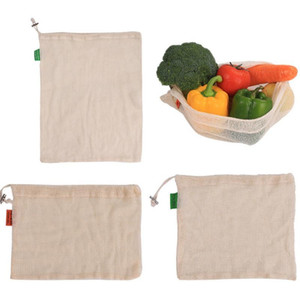 Vegetable Bags Popular Cotton Fruits and Vegetables Drawstring Drawstring Green Reusable Household Kitchen Storage Mesh