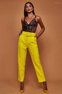 Pantalones para mujer colores del caramelo sólido traje pantalón recto con los marcos Capris altura de la cintura de la manera caliente