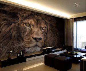 Фото обои на заказ 3D Stereo HD Wildlife Lion Backdrop Wall Mural Отель Гостиные Classic Decor Обоев Papel De Parede