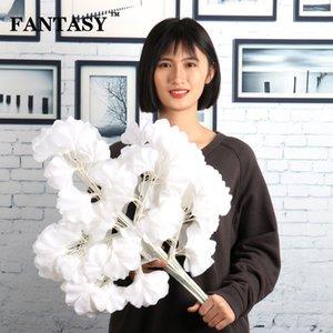 12pcs 5Fork Gran rama de Ginkgo artificial Hojas de plantas falsas Seda Árbol de Biloba Hojas blancas Decoración de otoño Flor de boda Artesanía