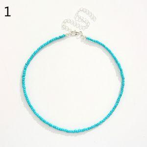 Necklace Bohemian Short Choker Fashion Wild Colorful Beads -CJS05