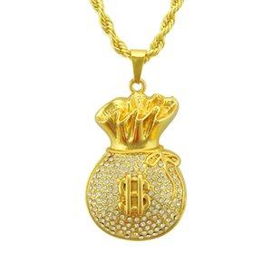 Dolar Çanta Kolye Kolye Hip-Hop Kolye Kolye Erkekler Kadınlar Için Diamonds Ile Kolye Kolye Set Buzlu Out Takı
