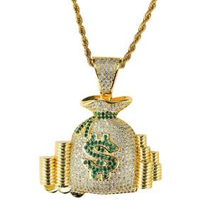 Hip hop bolsa de dinero diamantes collares pendientes para hombres mujeres monedero monedero monedas lujo collar joyería chapado en oro cobre circones cadena cubana