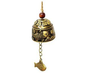 DHL Small Vintage fish Fengshui Bell Toy Good Luck Bless for Home nd Hanging Wind chime Blessing Decoration Gift pendant -- 4*3.5cm