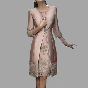 Mère de la mariée robe de mariée trois quarts manches veste pour les mères occasion fille formelle robe de soirée de soirée deux pièces robe mère