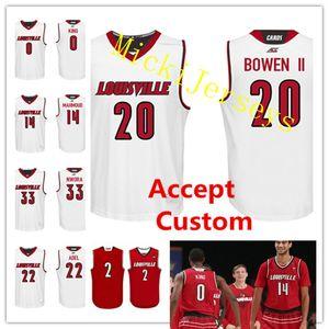 Özel NCAA Louisville Kardinaller Koleji Basketbol Formalar Damion Lee VJ. Kral Anas Mahmud Brian Bowen Deng Adel Nwora Louisville Cardinal