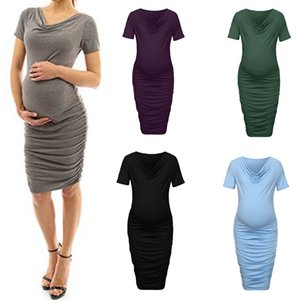Pregnancy Dress Women Wraped Ruched Solid Cowl Neck Short Sleeve Bodycon Dresses Props Ropa Premama Maternity Summer Dress S-XL