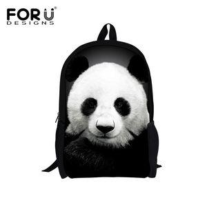 Forudesigns Cute Kids Backpack Canvas Bagpack Panda Owl Wolf Animal Printing Children School Bag For Teenage Boy Girls Rucksack