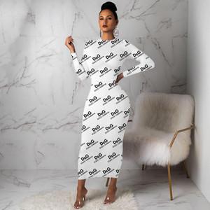 74F056 mulheres vestido de manga longa até os tornozelos um vestido peça de alta qualidade BODYCON saia clubwear elegante venda quente