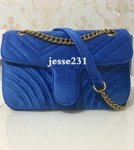 Bolsos nuevos bolsos de las mujeres bolsos de hombro de oro clásico 26cm Cadena de terciopelo bolsa de mensajero de Crossbody del bolso bolsas de mano 6colors
