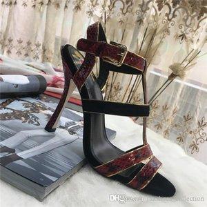 Классический Женщины Real змеиной сандалии итальянской кожи подошвы, Последние Высокие каблуки Обувь Женские сандалии для летней вечеринки отпуск