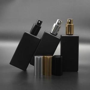 sambette 50pcs de alta qualidade 50ml de vidro quadrado 50ml Frasco de perfume de vidro preto Garrafa de Spray Fragrance Embalagem garrafa reutilizável
