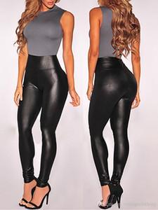 Женщины Черный Sexy поножи Кожа Slim Fit гетры высокой эластичностью клуб Стиль Брюки кожаные сапоги Леггинсы