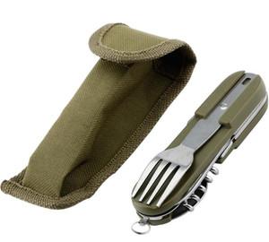 Ejército Verde Plegable Portátil de Acero Inoxidable Picnic Cubiertos Cuchillo Tenedor Cuchara Abrebotellas Cubiertos Vajilla Kit de Viaje