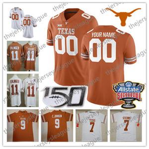 2019 Texas Longhorns personalizzato qualsiasi numero numero arancione bianco cucito 150TH Sugar Bowl # 11 Ehlinger 7 Sterns Johnson Young NCAA maglia da calcio