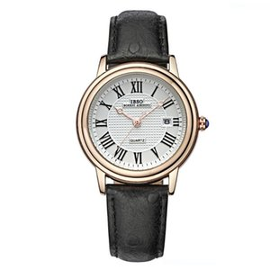 IBSO Design de Moda Mens Quartz Analog numeral romano Assista cinta de couro Relógios impermeáveis 3908