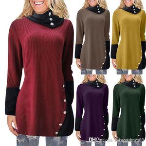 Womens Desinger otoño suéter largo irregular del estilo cuello de tortuga color sólido de invierno vestidos casual para mujeres Ropa