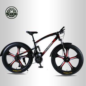 Amour Liberté de haute qualité Vélo 7/21/24/27 Vitesse 26 * 4.0 Fat vélo avant et à double frein à disque arrière Absorbeurs vélo neige