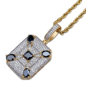 Gold Necklaces Iced Out Pendant Mens Designer Necklace Hip Hop Jewelry Zircon 18K Gold Plate Copper Long Chain Fashion Men Gift Women