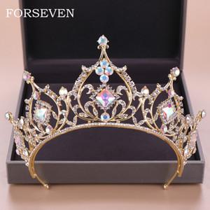 Cristal barroco Tiara Corona Novia Accesorios para el cabello Colorido Cristal Corona Novia Tiaras Boda Casco Princesa Reina Diadema Y19061905